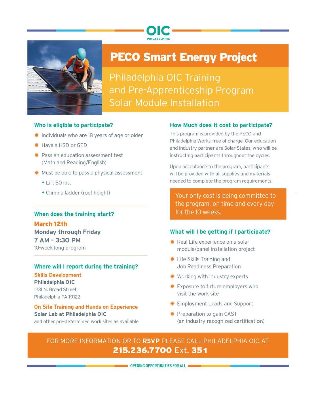 Philadelphia OIC: Training and Pre-Apprenticeship Program
